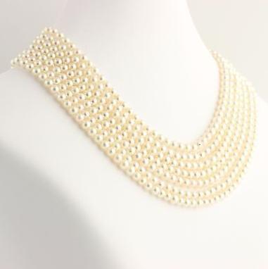 Hermoso collar de perlas blanco natural de 7-8 mm mares del sur, 88 pulgadas, oro de 14 k