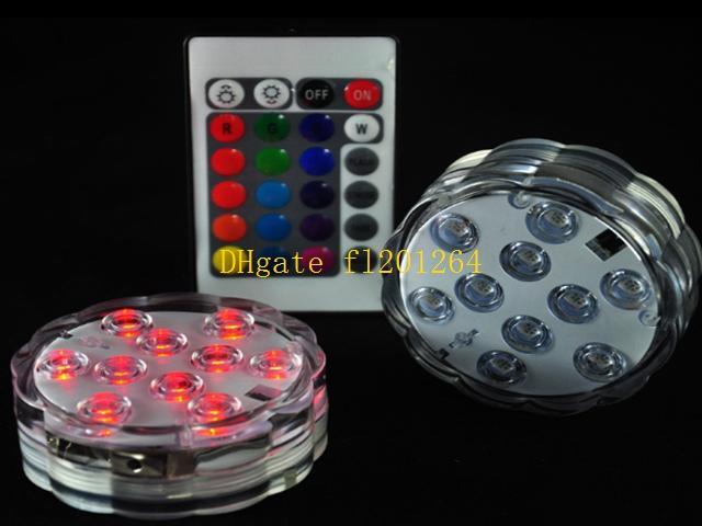 10pcs Livraison gratuite RGB Télécommande 16 couleurs Submersible LED Light, LED étanche Vase Base Light Pour la célébration de mariage