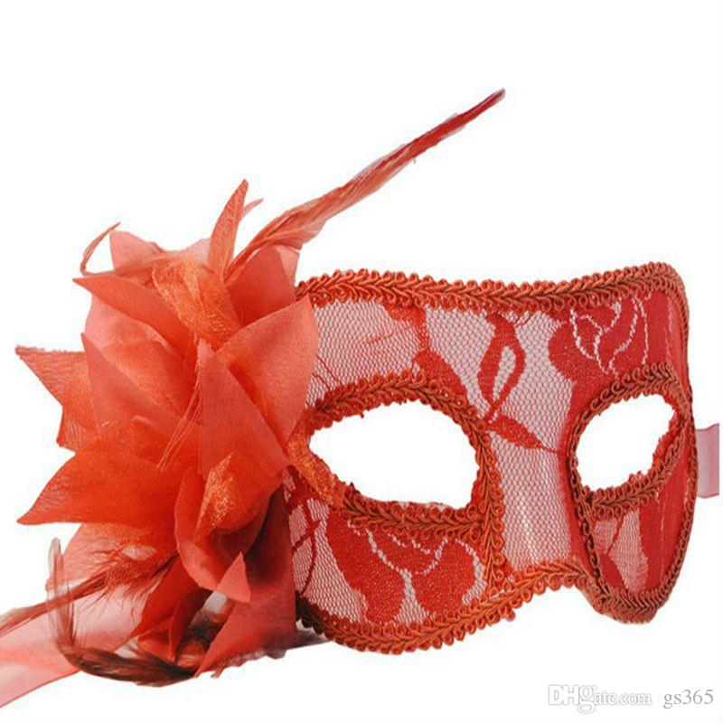 Halloween Scottish Lace Hollow Flower Mask With Side Calla Lily Costume Venice Ladies Dance Party Masquerade Masks 100pcs/lot