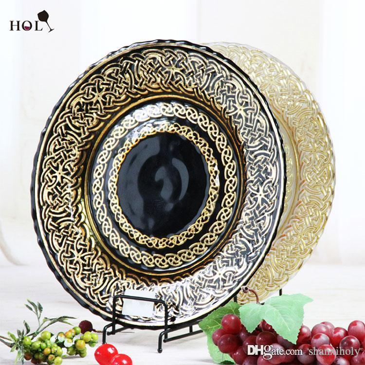 Fashion Design Gold siliverRound Glass Charger Plate-Servierplatte