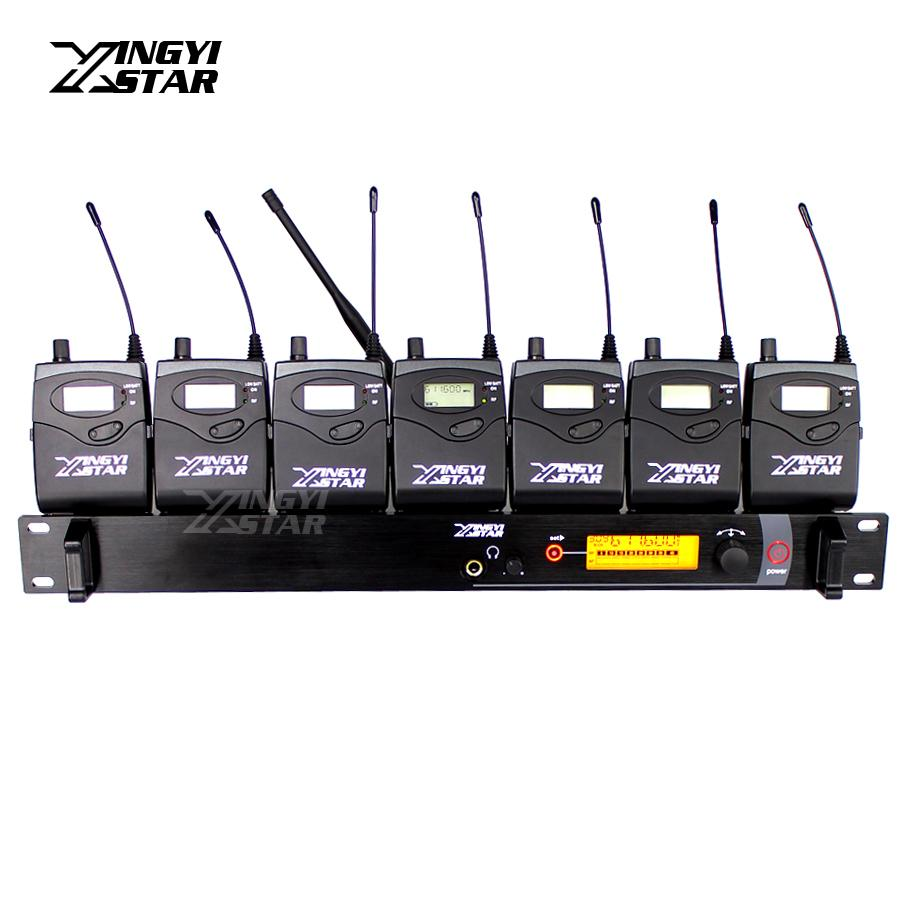 Professional Monitoring UHF Wireless In Ear Earphone Stage Monitor System One Cordless Transmitter With 7 Receivers Video Recording Studio