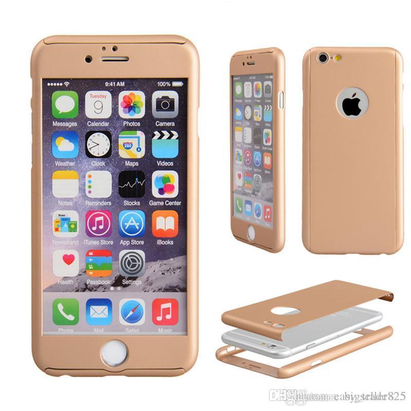 Cubiertas enteras 360 del teléfono celular de la caja de la protección completa Cubiertas 3D con protector de pantalla de cristal templado Color protector para Apple iPhone6 6s 6 más