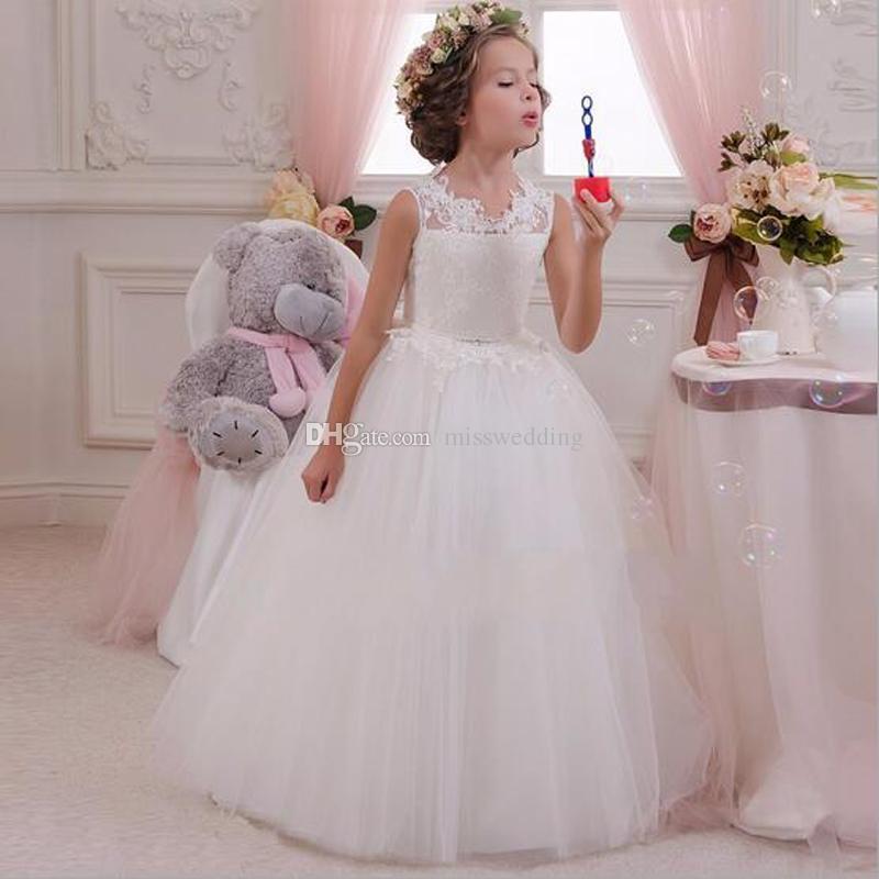 New Fashion White Tulle Lace Flower Girls Ball Dresses Open Back Little Queen Vestido de nina de las flores