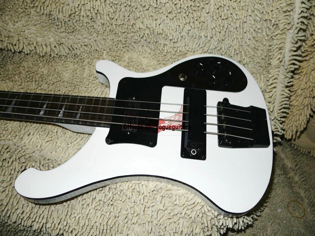 Spedizione gratuita Custom White 4003 Bass 4 corde basso elettrico nero, doppio jack