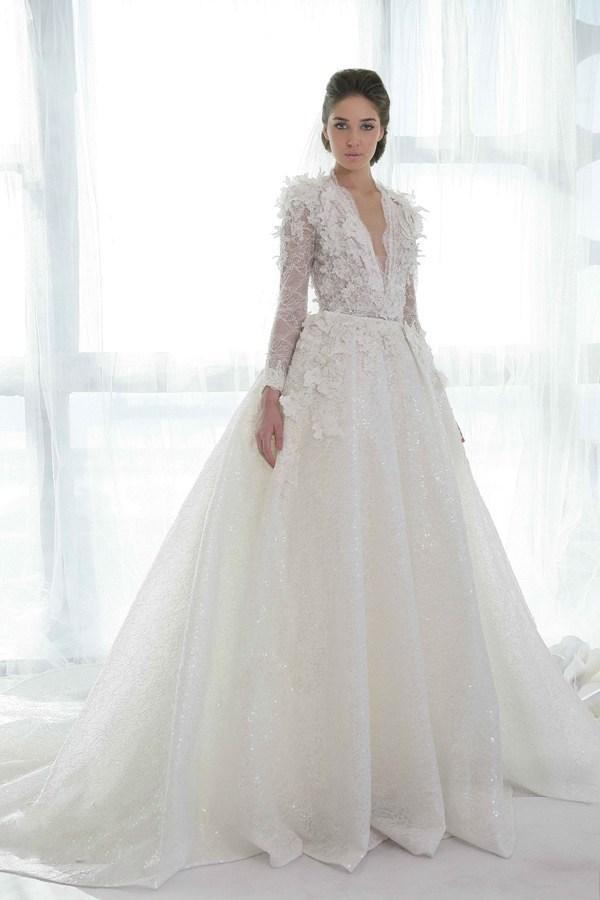 Discount Cheap Wedding Dresses Bridal Gowns Luxury White Deep V Neck A Line Chapel Train Feather Custom Made Organza Lace Wedding Dress Long Sleeve A ...