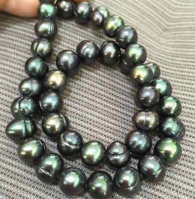 Tahitian 10-11mm Pfau-Grün-Perlen-Halsketten-18inch Gold 14k Schließe