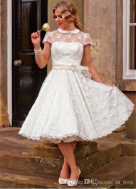 50s Vintage Short Lace Wedding Dresses Short Sleeve High Neck Belt A Line Tea Length Bridal Gowns vestido de noiva Custom Made W063