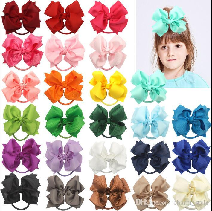 NEW 4 inch Baby Girl Hair Bows Kids Children Grosgrain Ribbon Elastic Headband girls ponytail holder hair bow ties twisted bow 20pcs/