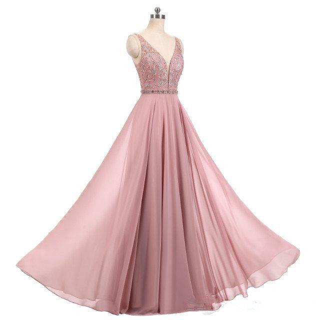 Compre Nuevo 2019 Blush Real Vestidos De Color Rosa Cuello En V Grano Sin Mangas Una Línea De Gasa Larga Vestidos De Fiesta Formal Vestido De Fiesta
