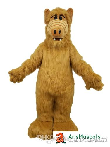 Monstro Costumes ALF traje da mascote dos desenhos animados da mascote para o partido de aniversário de criança Alf Adulto Costume disfarce Mascotte personalizados mascotes ArisMascots