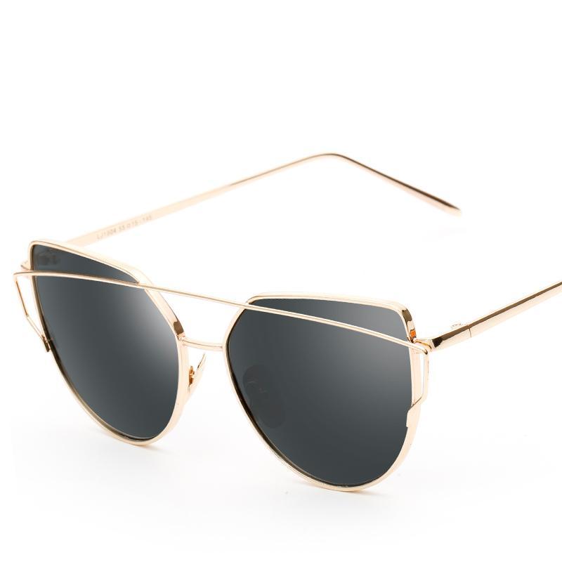 Couleur des verres Cat Eye Femmes Lunettes de soleil New Vintage Trendy Fashion miroir réfléchissant Lunettes de soleil unique plat UV400 dames Lunettes avec étui