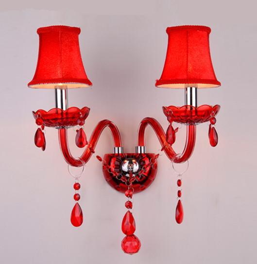 Antique 2 braços de parede de vidro arandela abajur cor Vermelha abajur conduziu a vela de parede Lâmpada de iluminação interior Ktv Bar Lâmpada Quarto crianças luz