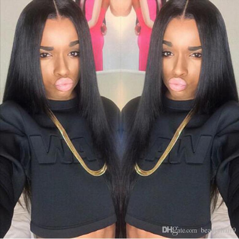 long straight wig simulation human hair straight full wig for women free shipping in large stock