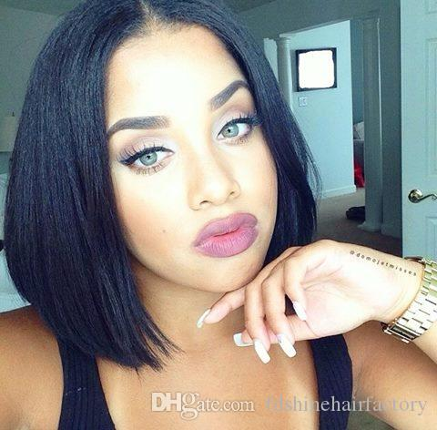 Human Hair Lace Wig 130% Density Glueless Bob Lace Front Wigs Yaki Straight Mongolian Hair with Baby Hair FDSHINE