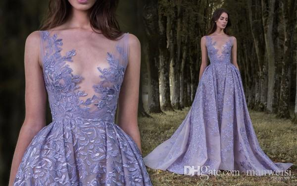 Lavender Paolo Sebastian 2017 Prom Dresses Full Leaf Applique Dress Evening Wear Sheer Neck Sleeveless Vintage Long Formal Party Gowns