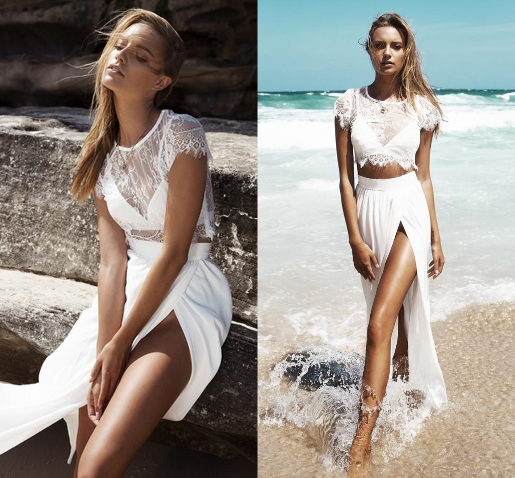 Lårhöga slitsarstrand bröllopsklänningar Sheer Lace Vestidos de novia En linje golvlängd två stycken Böhmen brudklänning 2016