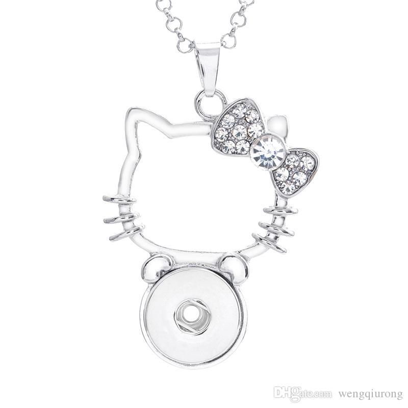 Vendita calda XL0012 bellezza strass gattino ciondolo a scatto charms 3 colori fit 18mm zenzero bottoni a pressione accessori fai da te gioielli all'ingrosso