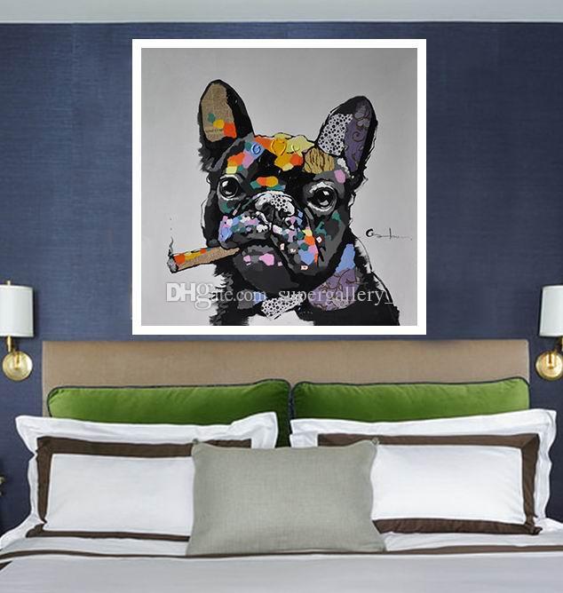 Çerçeveli Köpek Sigara Bir Puro, Handpainted Modern Soyut Hayvanlar Sanat Yağlıboya, Ev Duvar Dekor Kaliteli Tuval Muslti boyutu özelleştirilebilir