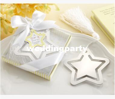 """Großhandelshochzeit 100pcs / lot bevorzugt Geschenke """"ein Stern ist geboren!"""" Metallbookmark mit Weiß-Silk Quaste"""