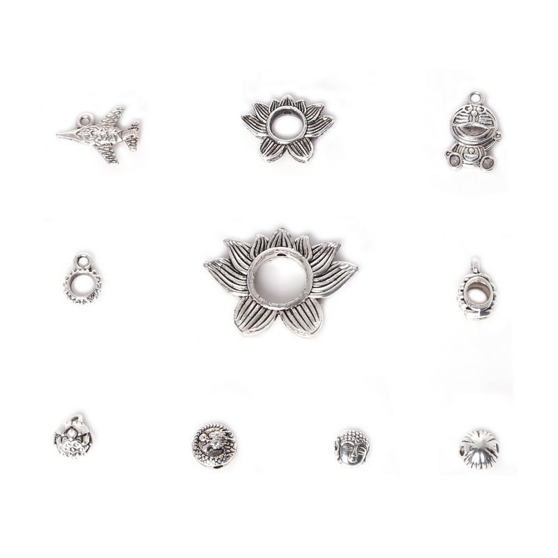 Free shipping New Wholesale 138pcs Mixed Antique Silver Plated Zinc Alloy Seedpod of Lotus Plane Charms Pendants DIY Metal Jewelry Findings