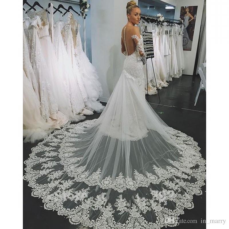 Full Vintage Lace Backless Mermaid Wedding Dresses 2017 Illusion - Wedding Dresses 2017 Lace