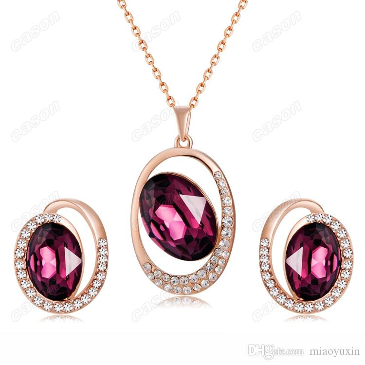 Cason High Quality Rose Gold Plated Purple Crystal Earrings And Pendant Necklace Women Jewelry Sets Purple Colour SJ-0013