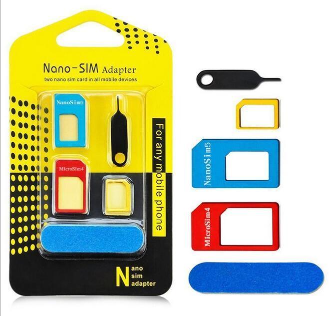 5 in1 Aluminum Metal Nano SIM Card to Micro SIM standard Adapter For iPhone 5s se 6 Plus S6 Edge Converter Eject Pin
