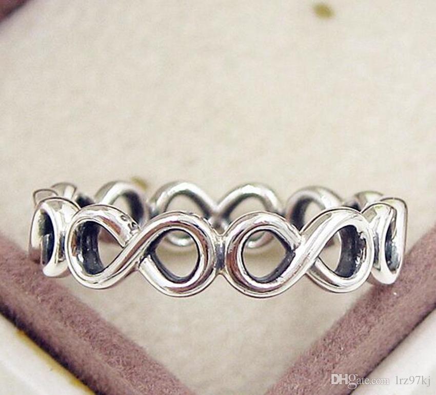 2016 nouvelle haute qualité 100% 925 Sterling Silver Infini Shine Ring avec Clear CZ Style Européen De Bijoux De Charme