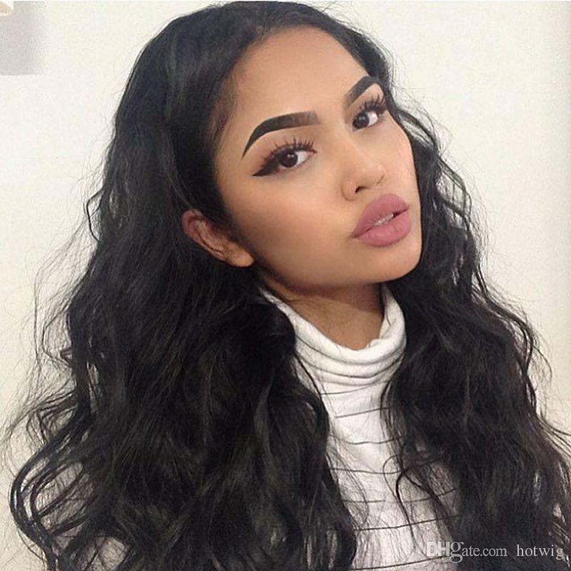 Peluca de pelo brasileño onda del cuerpo del frente del cordón pelucas de cabello humano peluca llena sin cola del cordón para las mujeres negras con el pelo del bebé