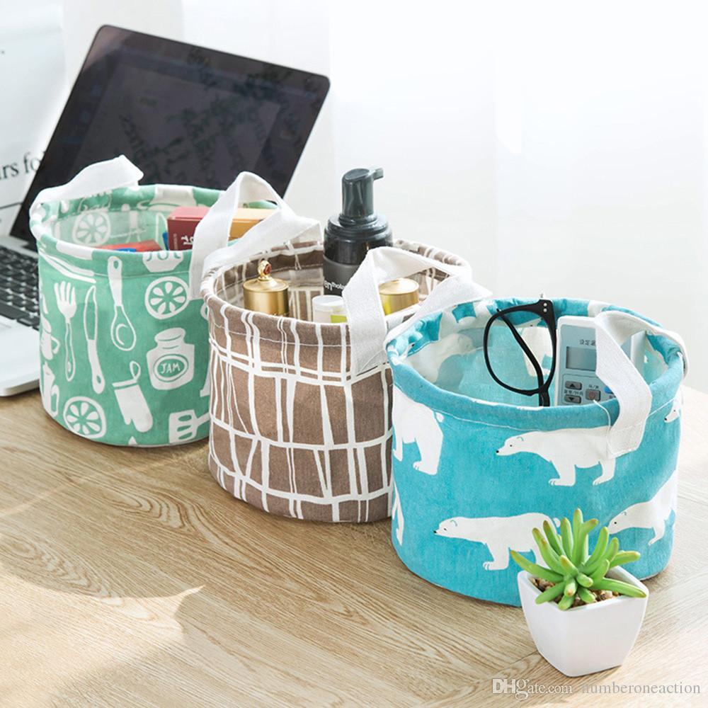 Cute Printing Cotton Linen Desktop Round Storage Organizer Sundries Box Cabinet Underwear Jewelry Cosmetic Stationery Basket