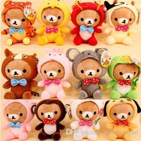 Wholesale-Free Shipping 12pcs/lot New Rilakkuma Dolls Wearing Zodiac Mascot Costumes,Lovely Plush Toy Stuffed Animal Dolls with Sucker