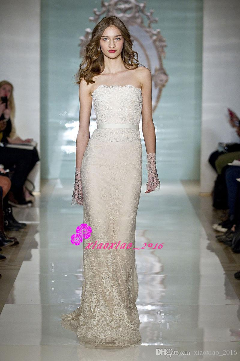 Reem Acra Design 2016 Bodycon Wedding Dresses Sheath Column Full ...