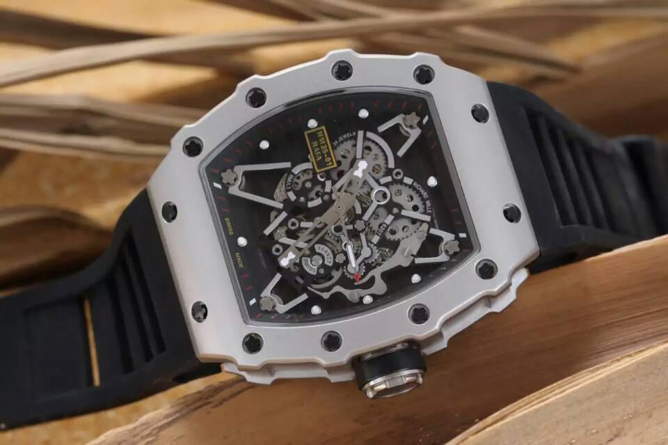 Automatic Luxury Mechanical Mens Stainless Watch RM035 Sapphire Bracelet Rubber Water Resistant Fashion Wristwatches For Men Christmas Gift