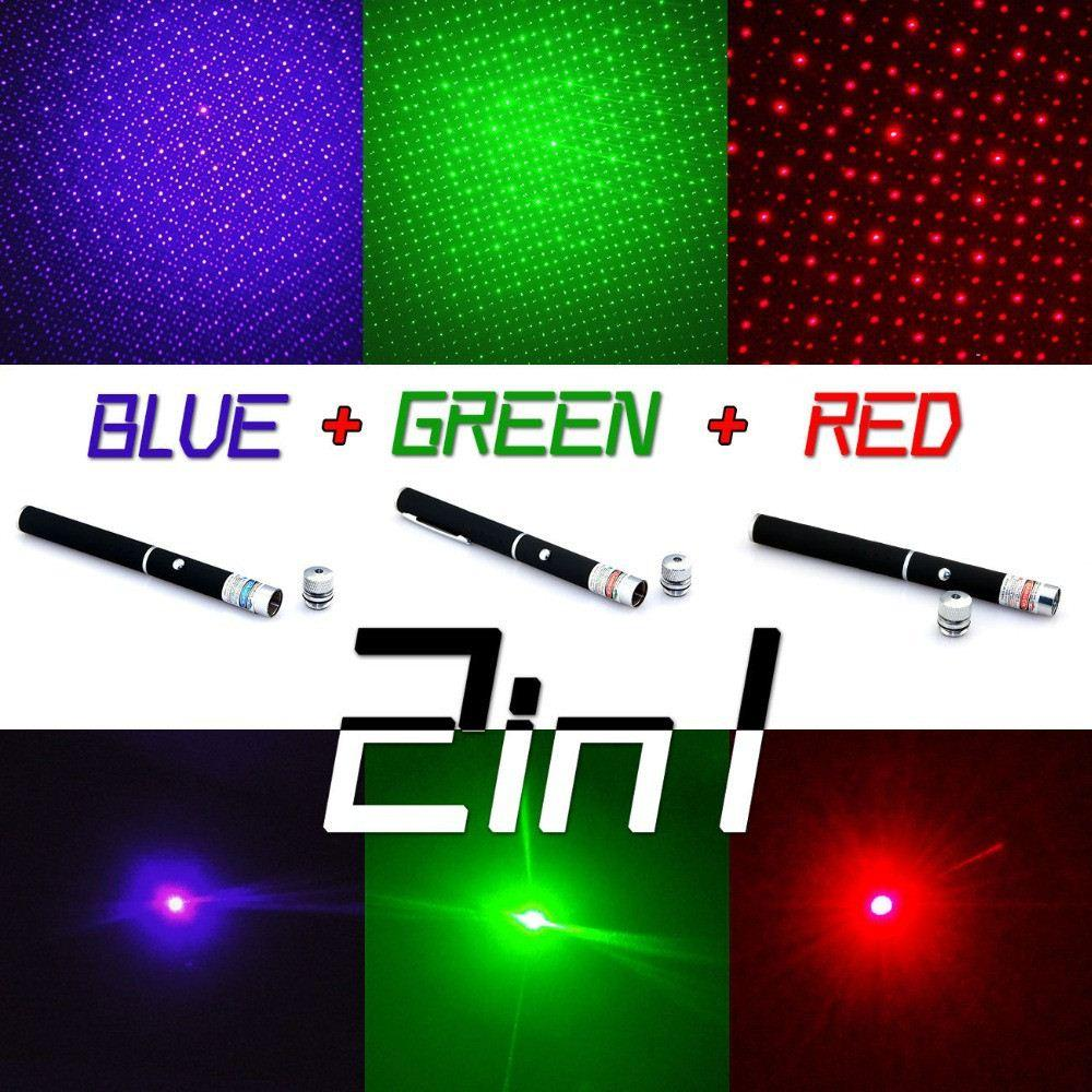 قوية 3 ألوان الليزر القلم Puntero مؤشر الليزر 5 ميجا واط caneta الليزر الأخضر / الأحمر / الأزرق البنفسجي الليزر الأخضر مع ستار كاب