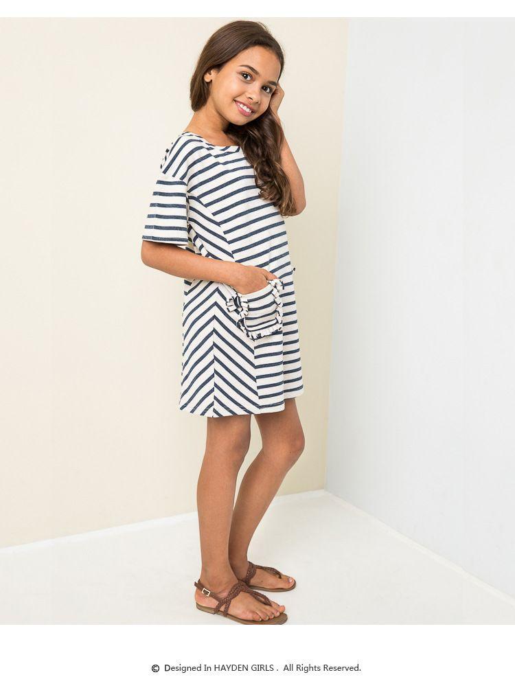 2018 2016 Teenager Striped Cotton Dresses Junior Fashion Ruffle ...