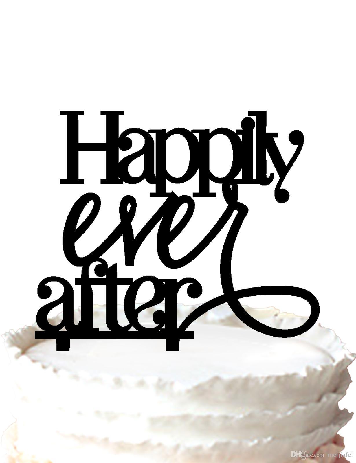 """""""Happily Ever After"""" para la boda de acrílico Cake Topper para la ocasión del partido, 37 colores para la opción Envío gratis"""