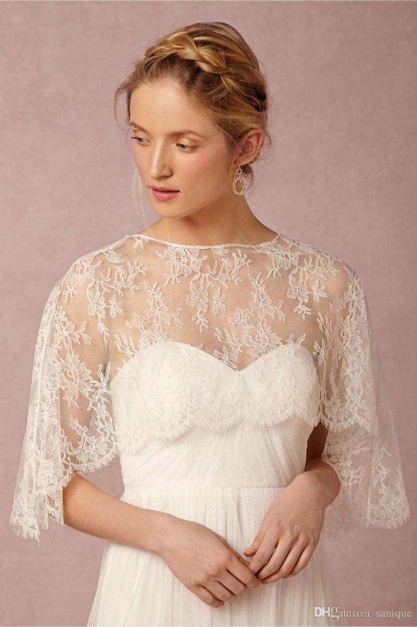 a9f6048e72bd 2018 Newest Bridal Wraps Short Bridal Coat Jewel Neck Lace Jackets Wedding  Capes Wraps Bolero Jacket Wedding Dress Wraps Shrugs Plus Size