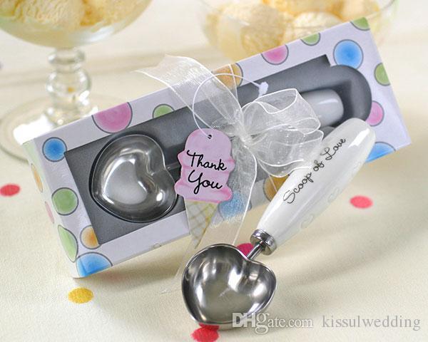 (10 peças / lote) melhor presente de casamento para os convidados colher de amor em forma de coração colher de sorvete em polka dot caixa de presente favor do casamento