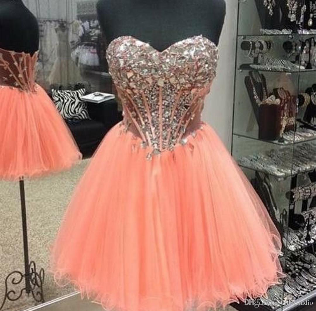Short Prom Dress with Rhinestones