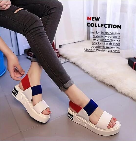 8ac4afb28ab5 2016 Korean Female Summer Sandals Thick Crust Muffin Student Flat In Simple  Open Toed Shoes With Comfortable Elastic Band Wedges Espadrilles From ...