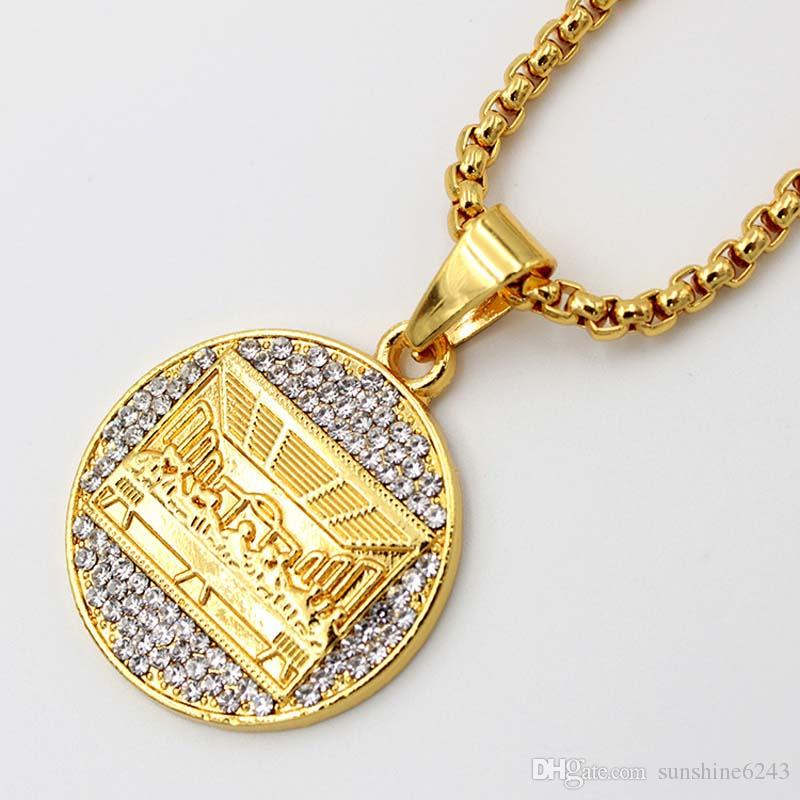 NEW MENS ICED OUT GOLD MICRO CROSS LAST SUPPER PENDANT BOX CHAIN NECKLACE SET