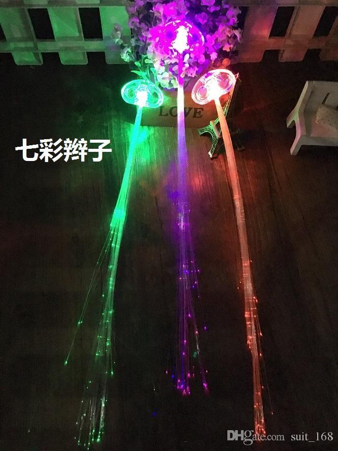 Colorful LED light emitting braid fiber braid flash wing bar disco dance headdress headdress Butterfly Angel