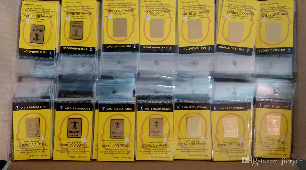 Fabricação Hotsale- trabalho real única 24k-gold anti radiação adesivo Shield Radiation 99% certificada pela Morlab! 100pcs / lotfree shoping