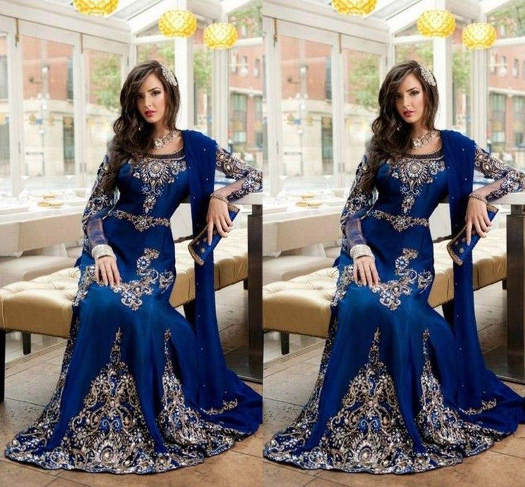 Evening Dresses 2018 Luxury Arabic Islamic Jewel Neck Embroidery Crystal Beaded Royal Blue Long Formal Dubai Abaya Party Dress Prom Gowns