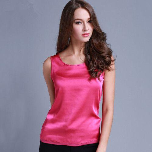 dc36ec448f96 ... Womens Summer Silk Tank Tops Ladies Blouses Mesh Cute Sleeveless Solid  Color O Neck Casual Debardeur ...