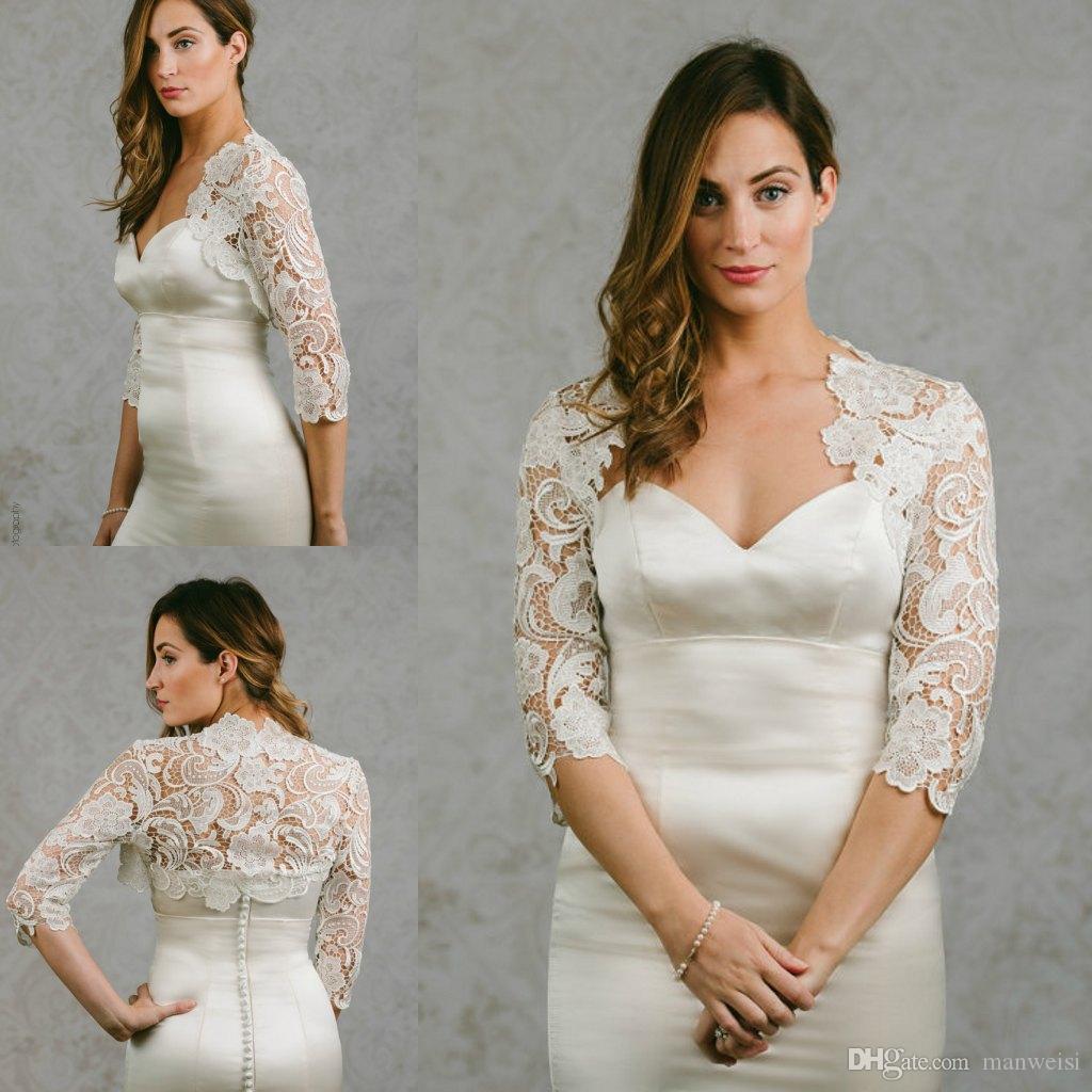 New Arrival 2018 Bridal Wraps 3/4 Sleeves Bridal Coat Lace Jackets Wedding Capes Wraps Bolero Jacket Wedding Dress Wraps Plus Size