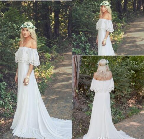 Discount 2017 Cheap Romantic Bohemian Wedding Dresses Bateau Neck Sweep  Train Lace Chiffon A Line Plus Size Maternity Bridal Gowns Wedding Dresses  ...