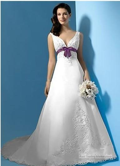Discount Inform Newly Design White And Purple Satin A Line Wedding ...