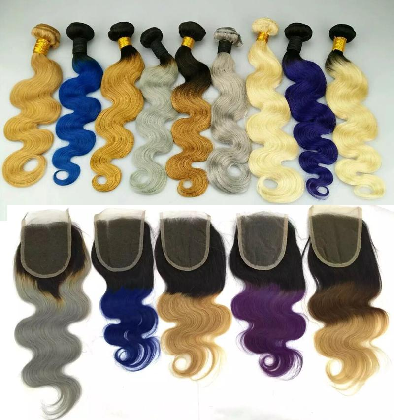 Brazilian Body Wave Human Hair Weaves with Lace Closure Human Hair Weaves Ombre Red Blue Purple 99J Burgundy 1B/4/27 Hair Weft