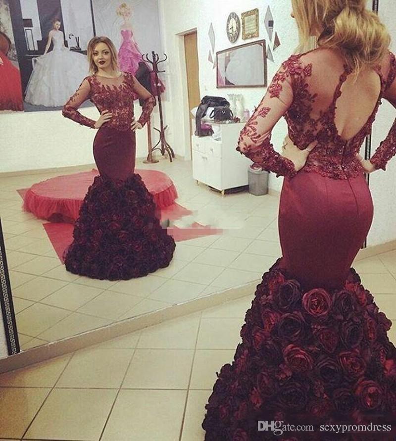 Burgundy Rose Dress